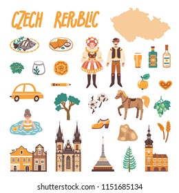 Vector icon set of Czech Republic's symbols. Travel illustration with Czech landmarks, people, food and symbols.