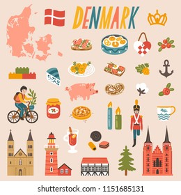 Vector icon set of Denmark's symbols. Travel illustration with Danish landmarks, food, drink and symbols.