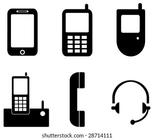 A vector icon set of devices used in communications.