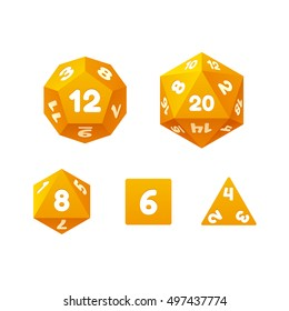 Vector icon set of dice for fantasy RPG tabletop games. Standard board game polyhedral dice with different number of sides.