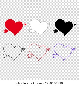 Vector icon set of different hearts pierced with arrow on transparent background. Elements for wedding or valentine day greeting card design. Lovestruck marriage symbols. Love stickers, clip art.