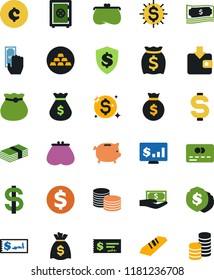 Vector icon set - dollar sign vector, money bag, piggy bank, credit card, paying, purchase wallet, purse, gold ingot, coin stack, check, shield, safe, monitor, cent, shine