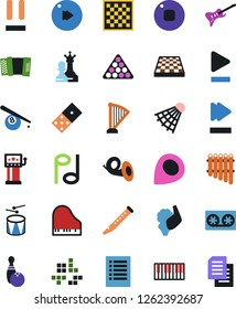 Vector icon set - domino vector, chess board, queen and pawn, slot machine, bowling, billiards, guitar, pc game, golf, shuttlecock, note, tape cassette, piano keys, harp, flute, accordion, drum, pan
