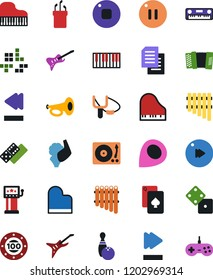 Vector icon set - domino vector, playing cards, dice, slot machine, bowling, slingshot, piano, guitar, pc game, casino chip, golf, vinyl, keys, accordion, pan flute, stop button, pause, fast forward