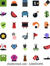 Vector icon set - dress vector, shawl, ear flap, dollar sign, notebook, presentation board, wallet, protect, scissors, domino, scales, saturn, touch, chip, green energy, flag, sale label, usb modem