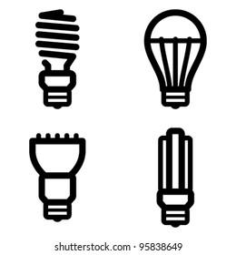 Vector icon set of energy saving and LED light bulbs