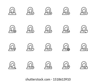 Vector Icon Set of Female User Avatars for Account. Outline or Thin Line Style
