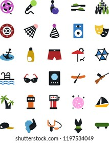 Vector icon set - vector, film roll, party hat, speaker, slot machine, bowling, paintball, theater mask, slingshot, disco ball, rubber boat, casino chip, golf, shuttlecock, pool, sunglasses, palm