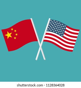 Vector icon set of flags of United States of America and China. The flags of the US and China are crossed and swaying in the wind.