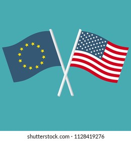 Vector icon set of flags of the United States of America and the European Union. The US and EU flags are crossed and swaying in the wind.