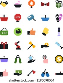 Vector icon set - foam basin vector, flip flops, bow tie, handshake, paying, basket, gift, dollar coin, investment, hand trainer, muscule, boxing glove, touch, idea, industrial robot, finger up, axe