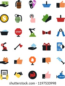 Vector icon set - foam basin vector, rubber glove, house hold, flip flops, bow tie, handshake, document in hand, paying, basket, finger up, down, gift, dollar coin, trainer, muscule, touch, mobile