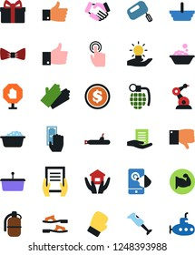 Vector icon set - foam basin vector, rubber glove, house hold, flip flops, bow tie, handshake, document in hand, paying, basket, finger down, gift, dollar coin, muscule, boxing, touch, idea, up