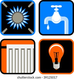 Vector Icon Set of Four Essential Public Services: Gas, Water, Electricity, and Heating