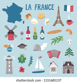 Vector icon set of France's symbols. Travel illustration with French landmarks, cheese, wine and symbols.