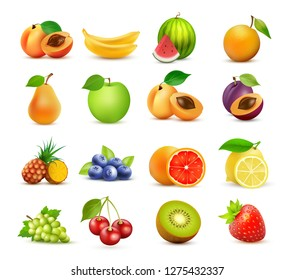 Vector icon set of Fruits isolated on white background. Design elements - Realistic fresh food collection in colorful style.