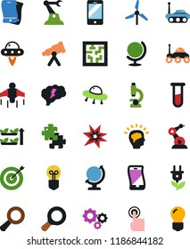 Vector icon set - gears vector, vial, globe, telescope, microscope, space rover, ufo, mobile, touch, jetpack, magnifier, target, puzzle, bang, maze, industrial robot, windmill, green energy, brain