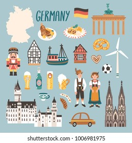 Vector icon set of Germany's symbols. Travel illustration with german landmarks, people, food, beer and symbols.