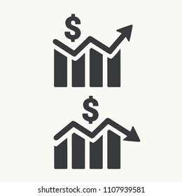 Vector Icon set of a graph of the rising and falling currency of the dollar. The graph shows an up and down arrow and a US dollar sign.