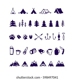 Vector icon set of hand drawn camping and adventure design elements. Beautiful ink drawing.