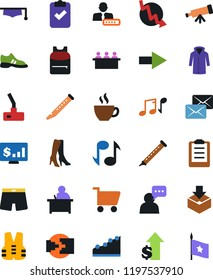Vector icon set - high heeled boots vector, underpants, coat, man speak, crisis graph, coffee, meeting, cart, box package, growth, graduate hat, student, backpack, telescope, clipboard, note, dollar