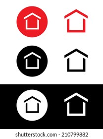 Vector icon set of a house. Can be used as a logo, icon, symbol or a web site button.