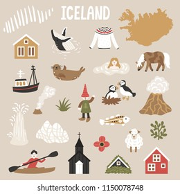 Vector icon set of Iceland's symbols. Travel illustration with Icelandic landmarks, people, animals and symbols. Scandinavian nature.