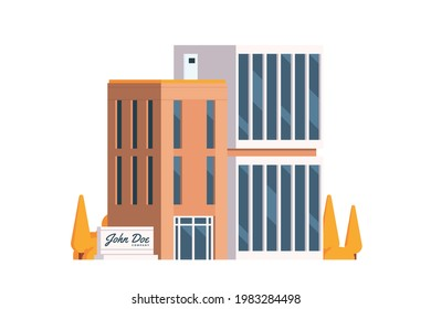 Vector icon set or infographic elements representing low poly office buildings for city illustration