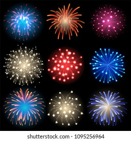 Vector icon set - isolated fireworks on black background