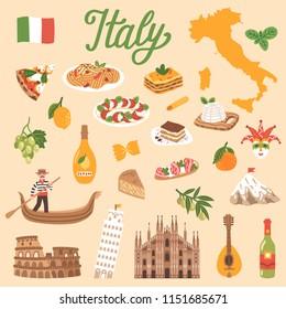 Vector icon set of Italy's symbols. Travel illustration with Italian landmarks, symbols, food, drink, fruits, desserts.