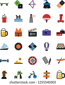 Vector icon set - joystick vector, clap, paint, bow, domino, dice, chess board, horse, shopping, yacht, parachoote, skateboard, pool, circus, rubber boat, casino chip, golf, signpost, puzzle, sun