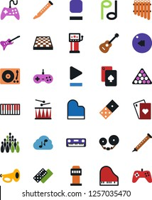 Vector icon set - joystick vector, domino, playing cards, chess board, slot machine, bowling, billiards, piano, guitar, note, tape cassette, vinyl, keys, flute, drum, pan, play button, stop, rewind