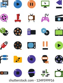 Vector icon set - joystick vector, film roll, frame, clap, pc game, tv, vr glasses, monitor, cd, play button, stop, pause, fast forward, rewind, music folder, rca, video camera, projector