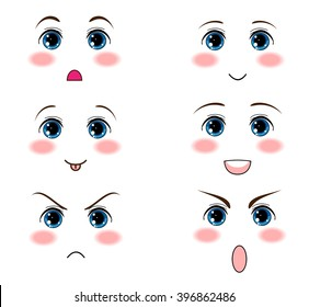 Kawaii Anime Manga Face Muzzle With Different Expressions Funny