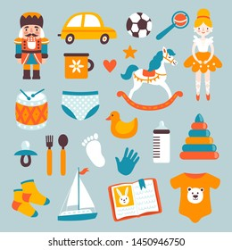 Vector icon set with kids toys and clothes: car, ball, rocking horse, doll, drum, duck and others. Newborn sticker collection. Childish background with cute cartoon elements. Kids poster.