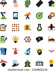 Vector icon set - light bulb vector, clipboard, gears, neural network, rocket, flask, vial, globe, telescope, microscope, space rover, ufo, mobile, touch, chip, idea, jetpack, quadrocopter, target