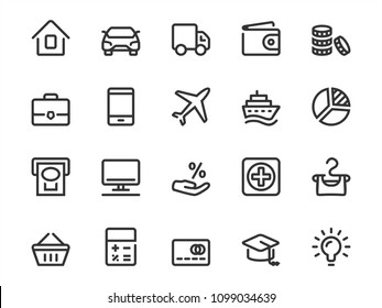 Vector icon set of loan objects in outline style. Icon collection includes: interest rate, real estate, business, car, credit card, travel, education and more.