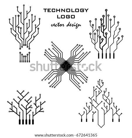 Stupendous Vector Icon Set Logo Printed Circuit Stock Vector Royalty Free Wiring 101 Swasaxxcnl