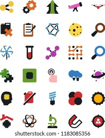 Vector icon set - magnifier vector, atom, microscope, molecule, economy bulb, clipboard, gears, no gas, neural network, nuclear fusion, core, vial, telescope, moon, saturn, touch, chip, quadrocopter