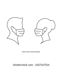 Vector icon set of male and female head, wearing air pollution, anti dust, face mask. Man and Woman profile in medical protection mask. EPS10 with layers.