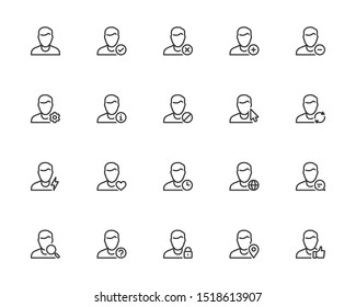 Vector Icon Set of Male User Avatars for Account. Outline or Thin Line Style