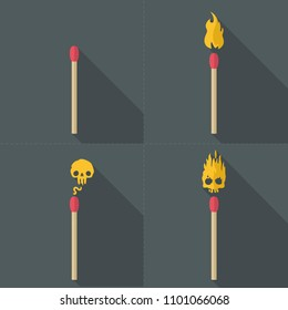 Vector Icon set of matches in a flat style. A match without fire, a match with fire, a match with fire in the form of a skull.