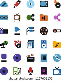 Vector icon set - mobile shopping vector, cd, clap, speaker, tv, news, film roll, tape cassette, microphone, audio player, stop button, fast forward, rewind, music folder, hit, rca, cloud, playlist
