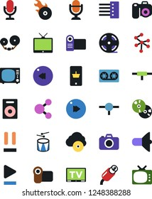 Vector icon set - mobile shopping vector, microphone, tv, loudspeaker, speaker, cd, film roll, tape cassette, drum, play button, pause, fast forward, rewind, music hit, rca, cloud, connect, network