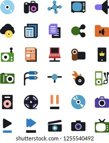 Vector icon set - mobile shopping vector, cd, clap, loudspeaker, news, radio, tv, speaker, film roll, audio player, play button, pause, fast forward, music folder, hit, rca, cloud, playlist, connect