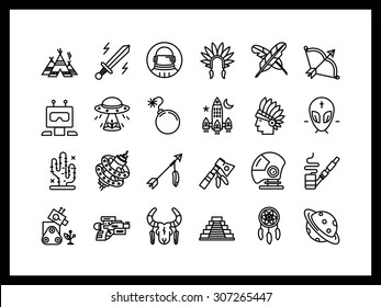 Vector icon set in a modern style. Future and past, adventure in the Wild West.