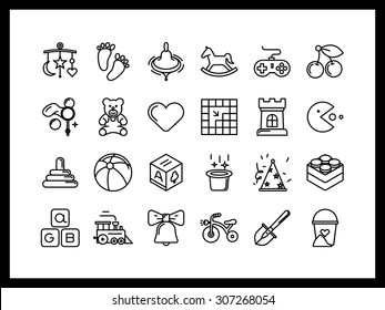 Vector icon set in a modern style. Children's toys and entertainment, Capacity building and education from an early age.