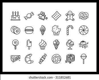 Vector icon set in a modern style. Sweets and pastries, ice cream, candy and chocolates, biscuits and cookies.