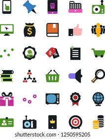 Vector icon set - money bag vector, mobile shopping, target, globe, staff, identity, support, point graph, magnifier, loudspeaker, finger up, team, medal, document, book, radio, tv, monitor, touch