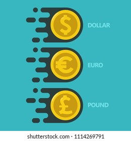 Vector icon set money. Gold coins with currency sign: dollar, euro, pound sterling.